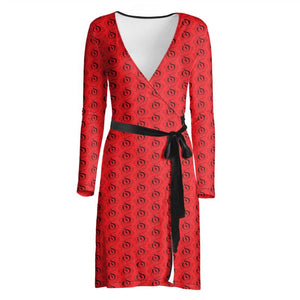 Black on Scarlet EOP Wrap Dress