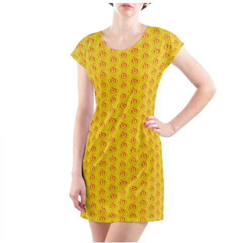 Red on Mustard EOP T Shirt Dress