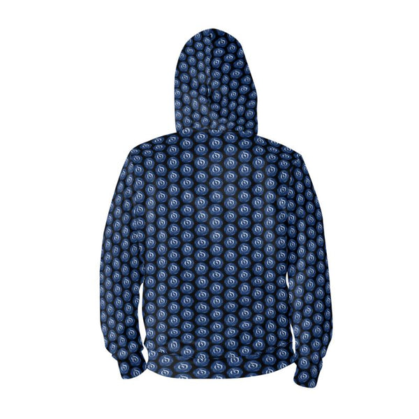 White/Blue Dot Black EOP Zip Hoodie