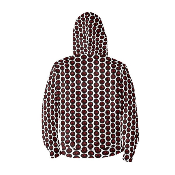 Red/Black Dot White EOP Zip Hoodie