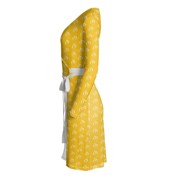 White on Yellow EOP Wrap Dress