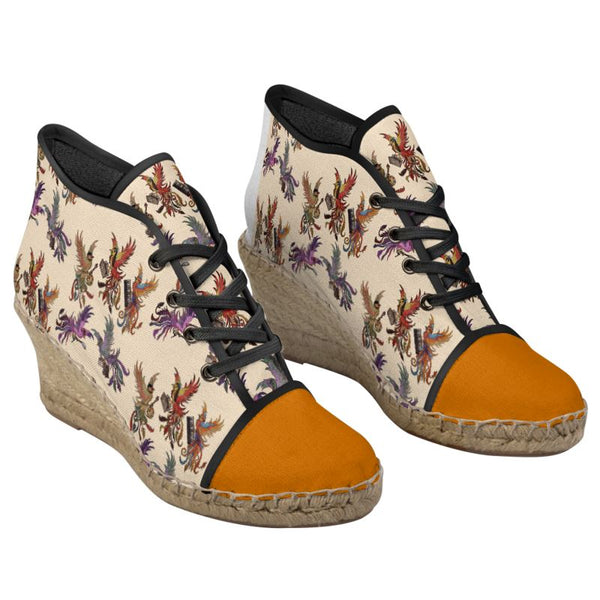 Cream/Orange KPH Ladies Wedge Shoes