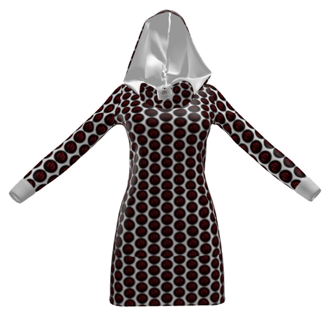 Red/Black Dot White EOP Ladies Hoodie Dress