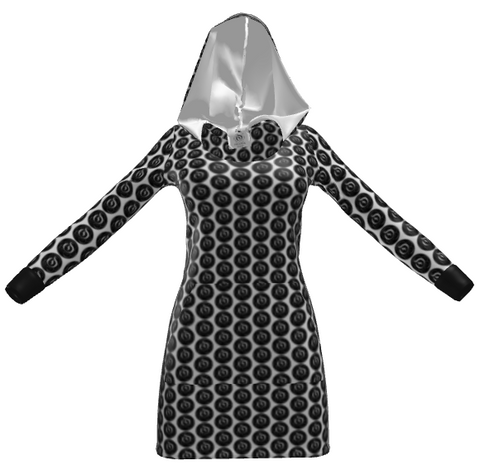 Black Dot White EOP Ladies Hoodie Dress