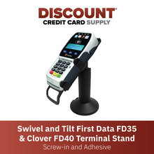 Load image into Gallery viewer, DCCS Swivel and Tilt First Data FD-35 & Clover FD-40 Terminal Stand, Screw-in and Adhesive (Black)