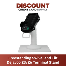 Load image into Gallery viewer, DCCS Freestanding Swivel and Tilt Dejavoo Z3/Z6 Terminal Stand (White)