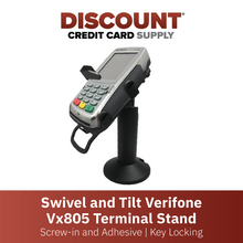 Load image into Gallery viewer, DCCS Swivel and Tilt Verifone Vx805 Terminal Stand, Screw-in and Adhesive with Key Locking Mechanism