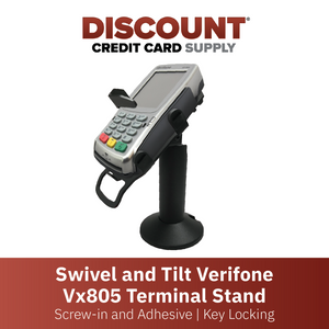DCCS Swivel and Tilt Verifone Vx805 Terminal Stand, Screw-in and Adhesive with Key Locking Mechanism