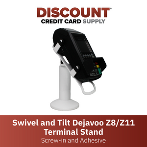 DCCS Swivel and Tilt Dejavoo Z8/Z11 Terminal Stand, Screw-in and Adhesive (White)