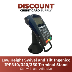 DCCS Low Height Swivel and Tilt Ingenico IPP310/320/350 Terminal Stand, Screw-in and Adhesive