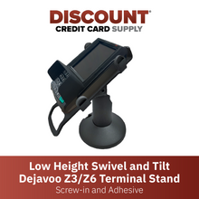 Load image into Gallery viewer, DCCS Low Height Swivel and Tilt Dejavoo Z3/Z6 Terminal Stand, Screw-in and Adhesive (Black)