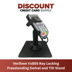 DCCS Freestanding Swivel and Tilt Verifone VX805 Terminal Stand with Key Locking Mechanism