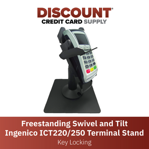 DCCS Freestanding Swivel and Tilt Ingenico ICT220/250 Terminal Stand, Key Locking Mechanism