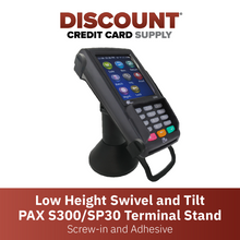 Load image into Gallery viewer, DCCS Low Swivel and Tilt Pax S300 & SP30 Terminal Stand, Screw-in and Adhesive