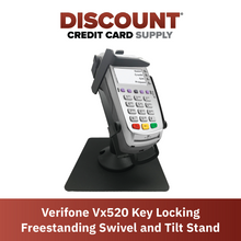 Load image into Gallery viewer, DCCS Freestanding Swivel and Tilt Verifone Vx520 Terminal Stand with Key Locking Mechanism