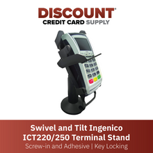 Load image into Gallery viewer, DCCS Swivel and Tilt Ingenico ICT220/250 Terminal Stand, Screw-in and Adhesive with Key Locking Mechanism