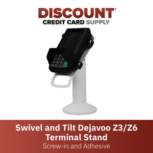 DCCS Swivel and Tilt Dejavoo Z3/Z6 Terminal Stand, Screw-in and Adhesive (White)
