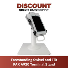Load image into Gallery viewer, DCCS Freestanding White Swivel and Tilt Pax A920 Terminal Stand with Square Plate