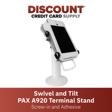 Load image into Gallery viewer, DCCS Swivel and Tilt Pax A920 Terminal Stand, Screw-in and Adhesive (White)