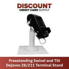 Load image into Gallery viewer, DCCS Freestanding Swivel and Tilt Dejavoo Z8/Z11 Terminal Stand (White)