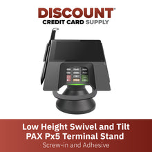 Load image into Gallery viewer, DCCS Low Profile Swivel and Tilt Pax Px5 Terminal Stand, Screw-in and Adhesive