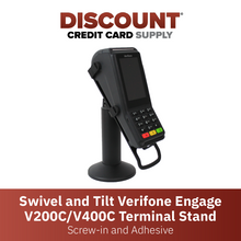 Load image into Gallery viewer, DCCS Swivel and Tilt Verifone Engage V200 & V400 Terminal Stand, Screw-in and Adhesive