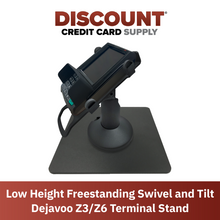 Load image into Gallery viewer, DCCS Low Height Freestanding Swivel and Tilt Dejavoo Z3/Z6 Terminal Stand (Black)