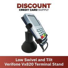 Load image into Gallery viewer, DCCS Low Swivel and Tilt Verifone Vx820 Terminal Stand, Screw-in and Adhesive