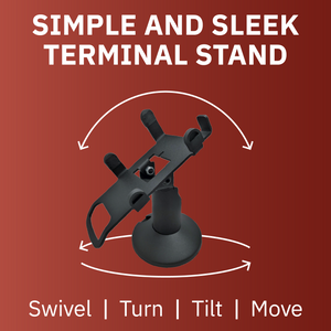 DCCS Low Height Swivel and Tilt Dejavoo Z3/Z6 Terminal Stand, Screw-in and Adhesive (Black)