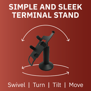 DCCS Swivel and Tilt First Data FD-35 & Clover FD-40 Terminal Stand, Screw-in and Adhesive (Black)