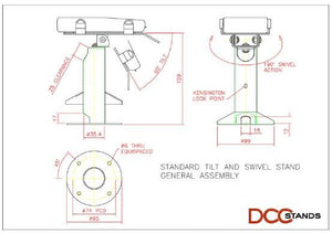 DCCS Freestanding White Swivel and Tilt Pax A920 Stand for Charging Base and Terminal with Round Plate