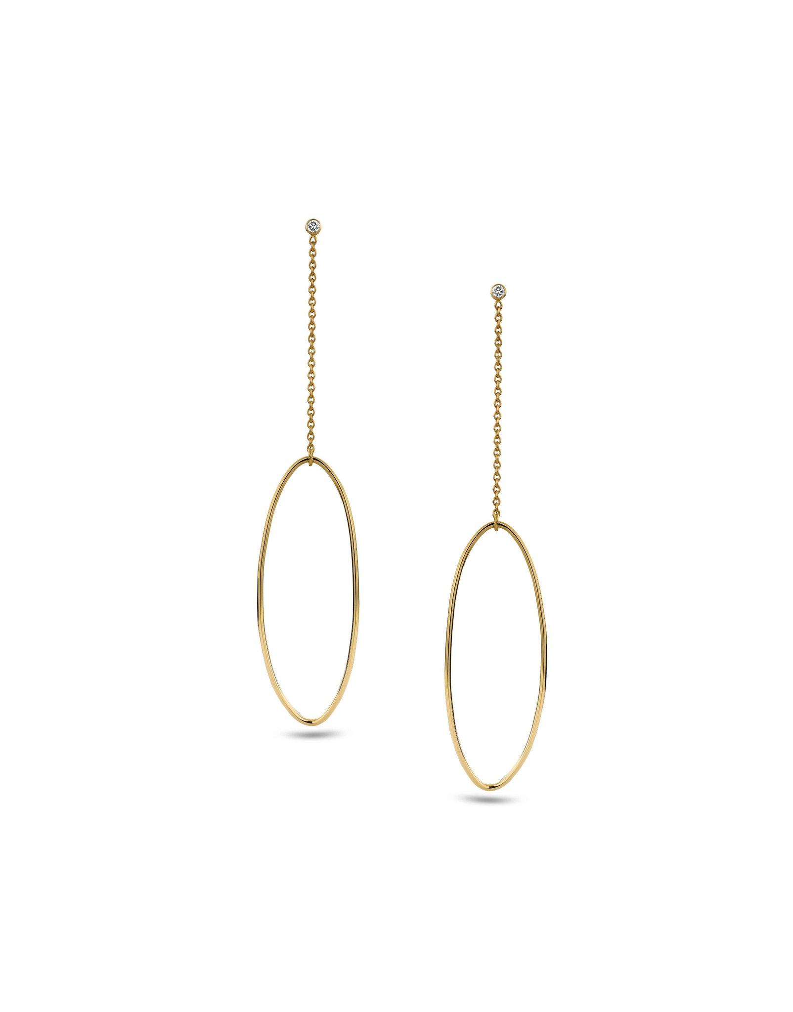 Amande earrings in 18k gold and white diamond