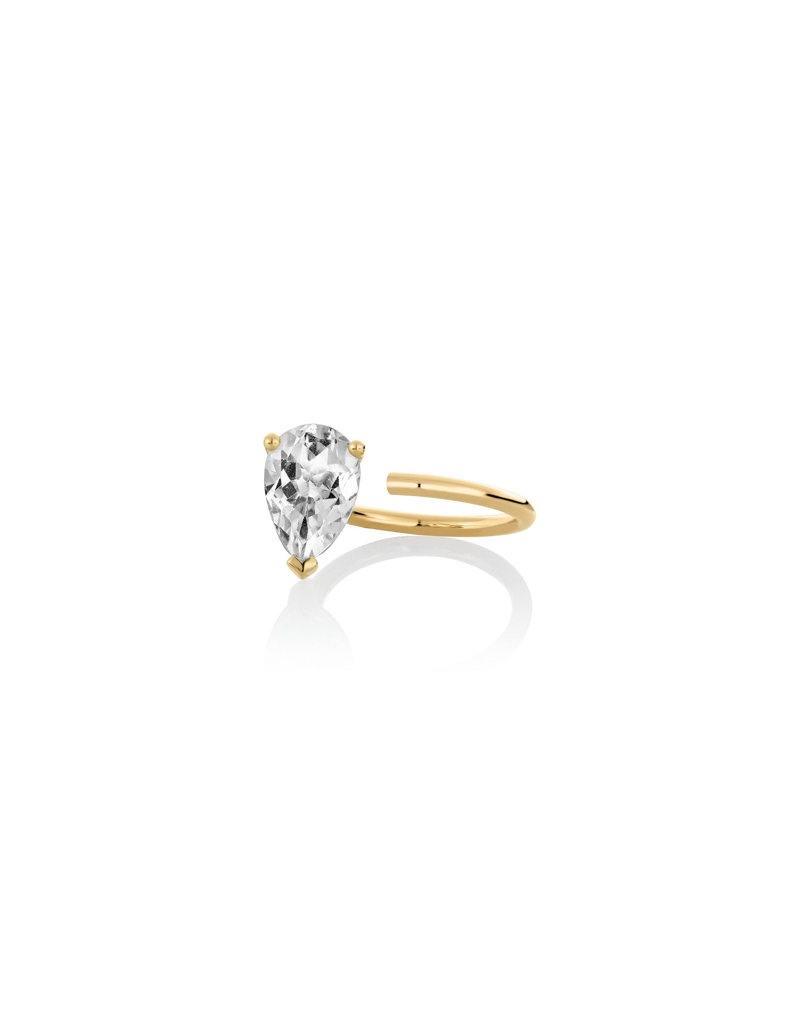 Nayestones Fine jeweelry Bloom ring in white topaz : an open ring with a trilliong shaped stone at the edge