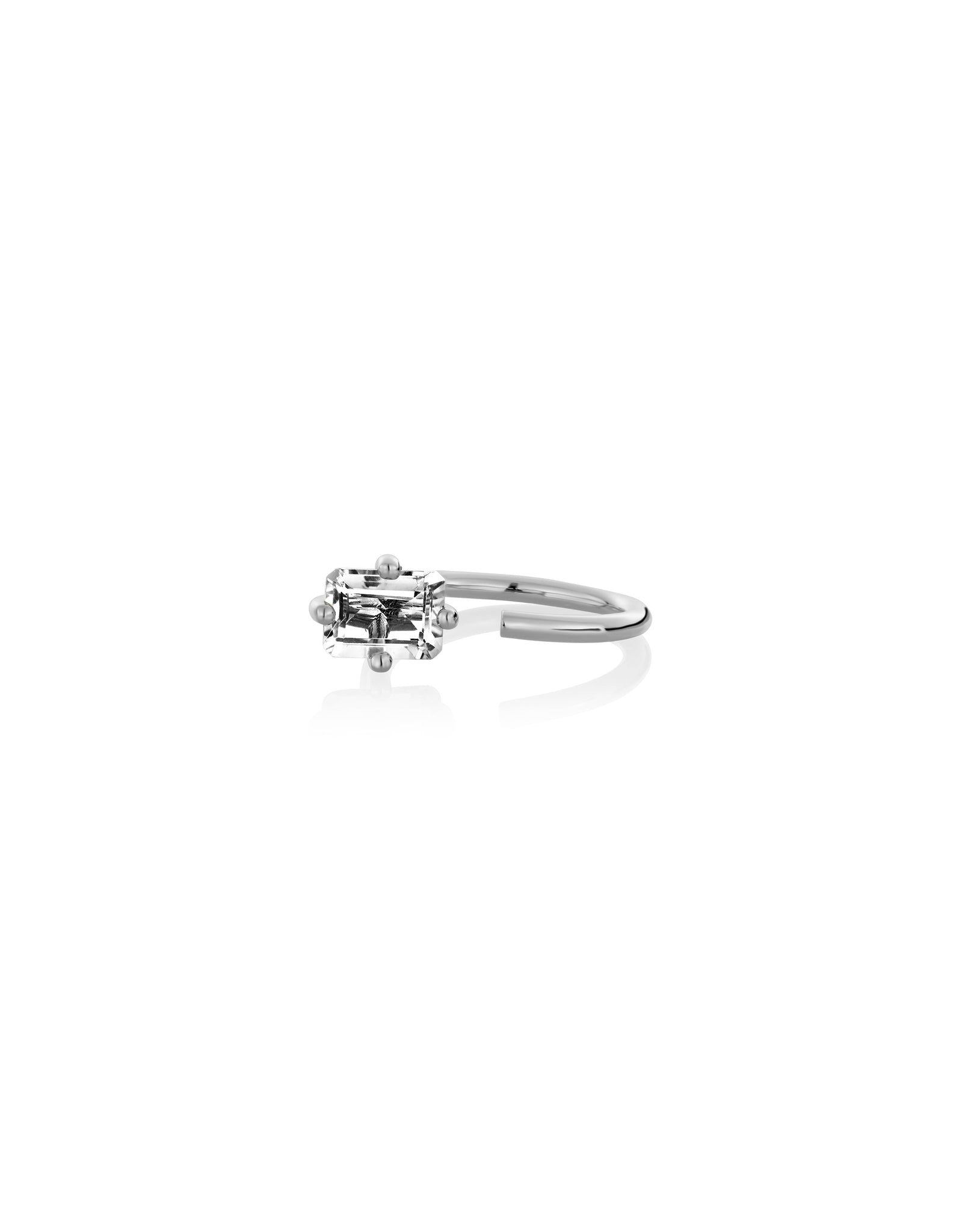 PERSONALIZED OCTOGONE RING IN WHITE GOLD
