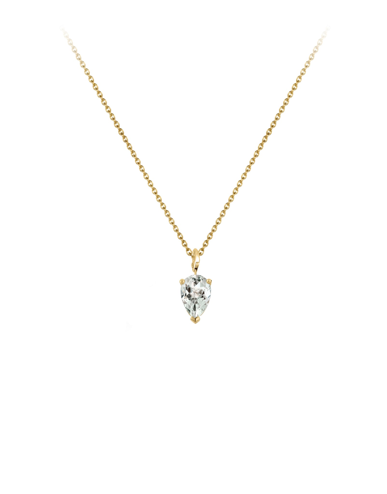 Necklace 9K gold green amethyst - bloom necklace amethyst - Nayestones