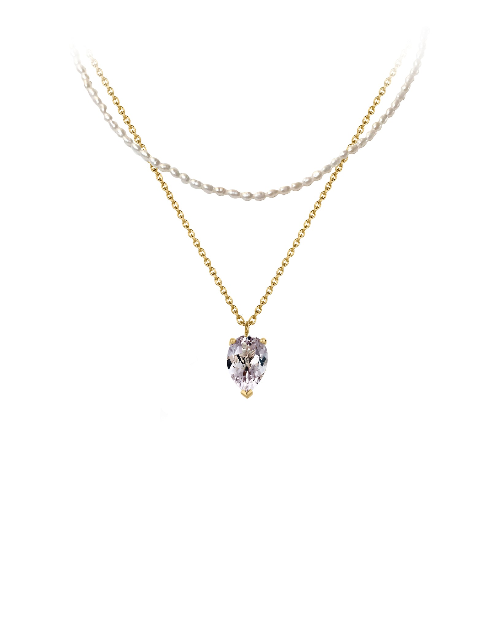 Necklace 9K gold amethyst and pearls - bloom necklace pearl and amethyst - Nayestones