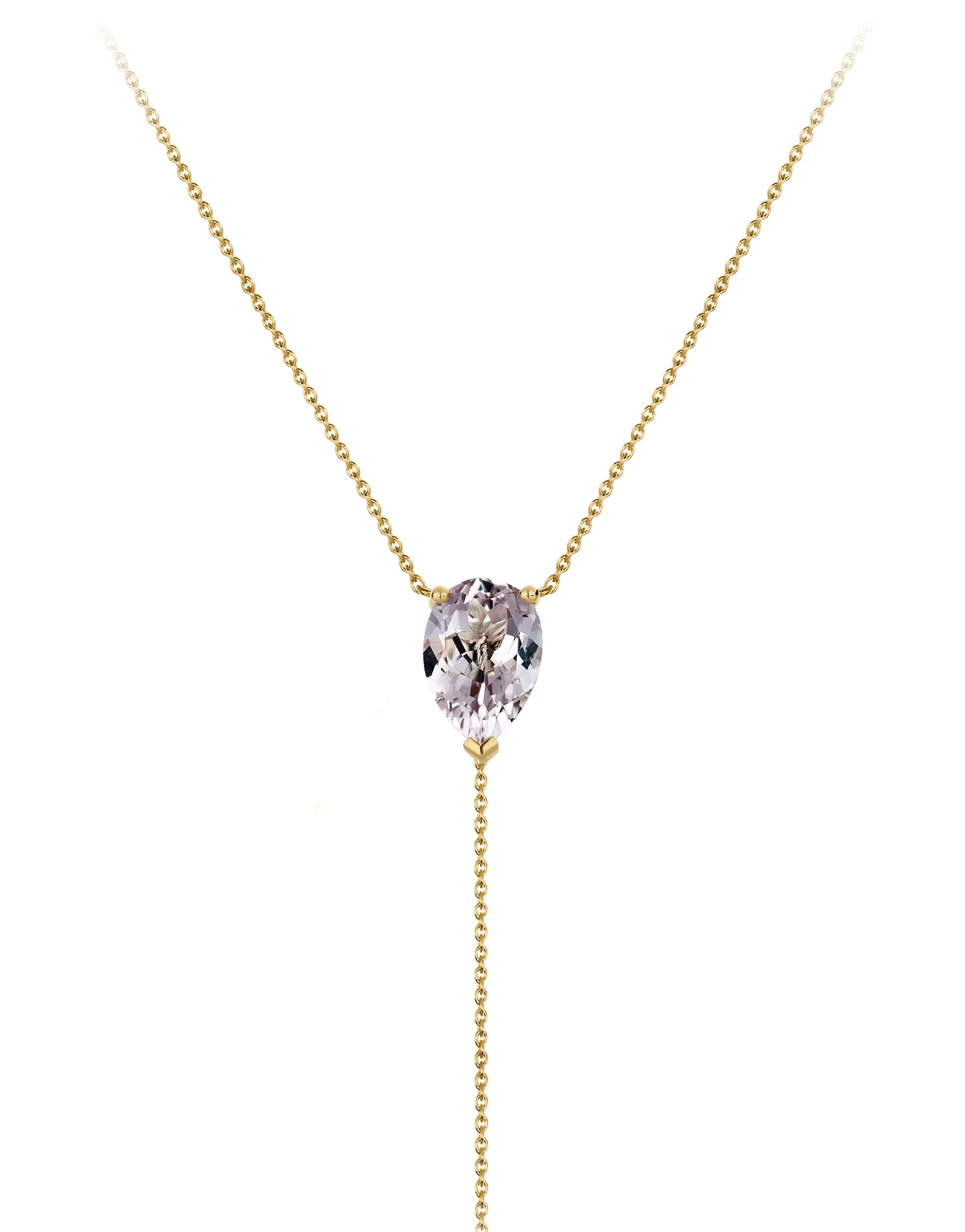 Necklace 9K gold amethyst - bloom necklace amethyst - Nayestones