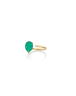 Ring 9K gold green onyx - Personalized bloom ring - Nayestones
