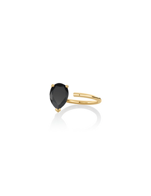 Ring 9K gold black onyx - Personalized bloom ring - Nayestones