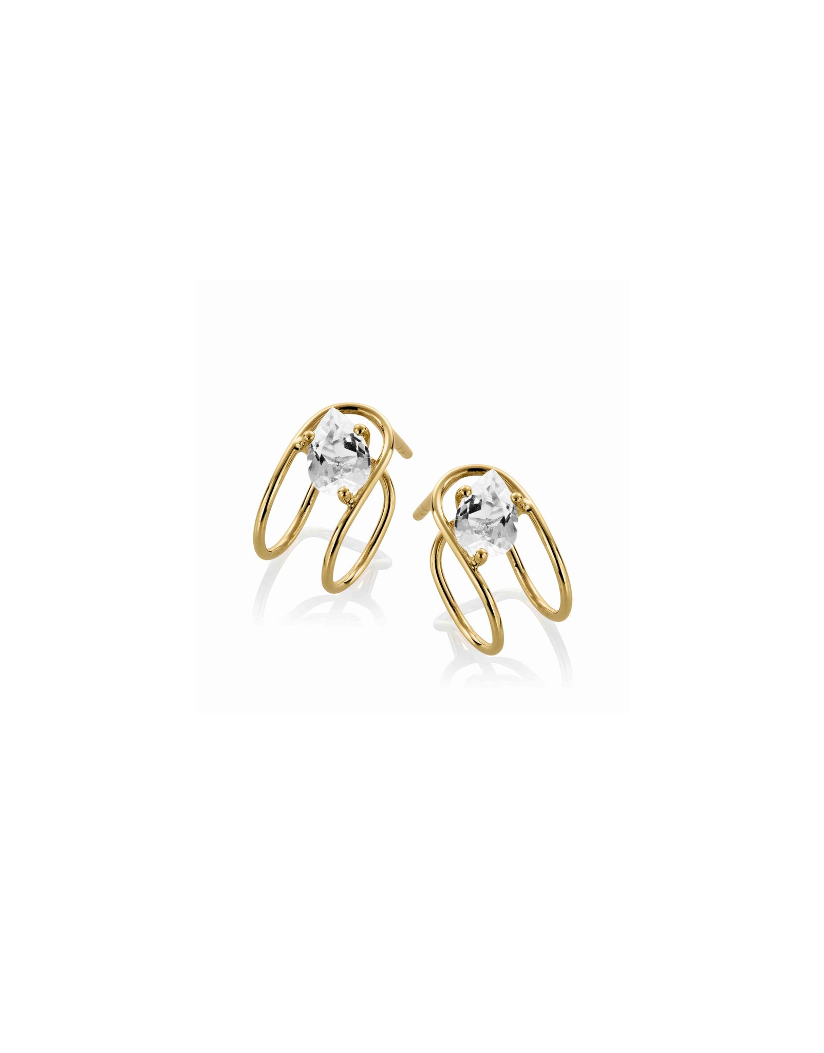 Earring 9K gold white topaz - Double c earrings topaz - Nayestones