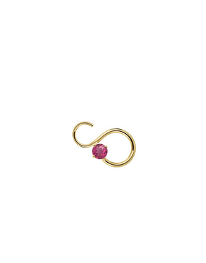 Nayestones Fine Jewelry Mono earring statement earring with stones in shape of infinity symbol with Pink Tourmaline October Birthstone