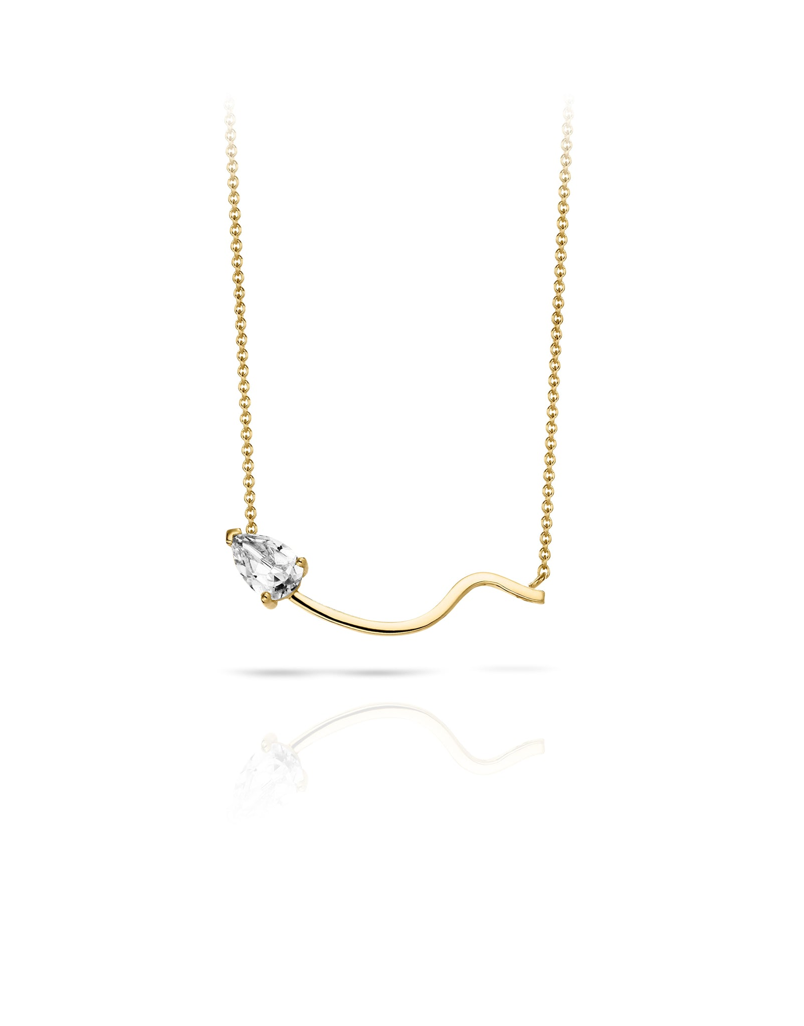 Necklace 18K gold white topaz - Lina topaz necklace - Nayestones