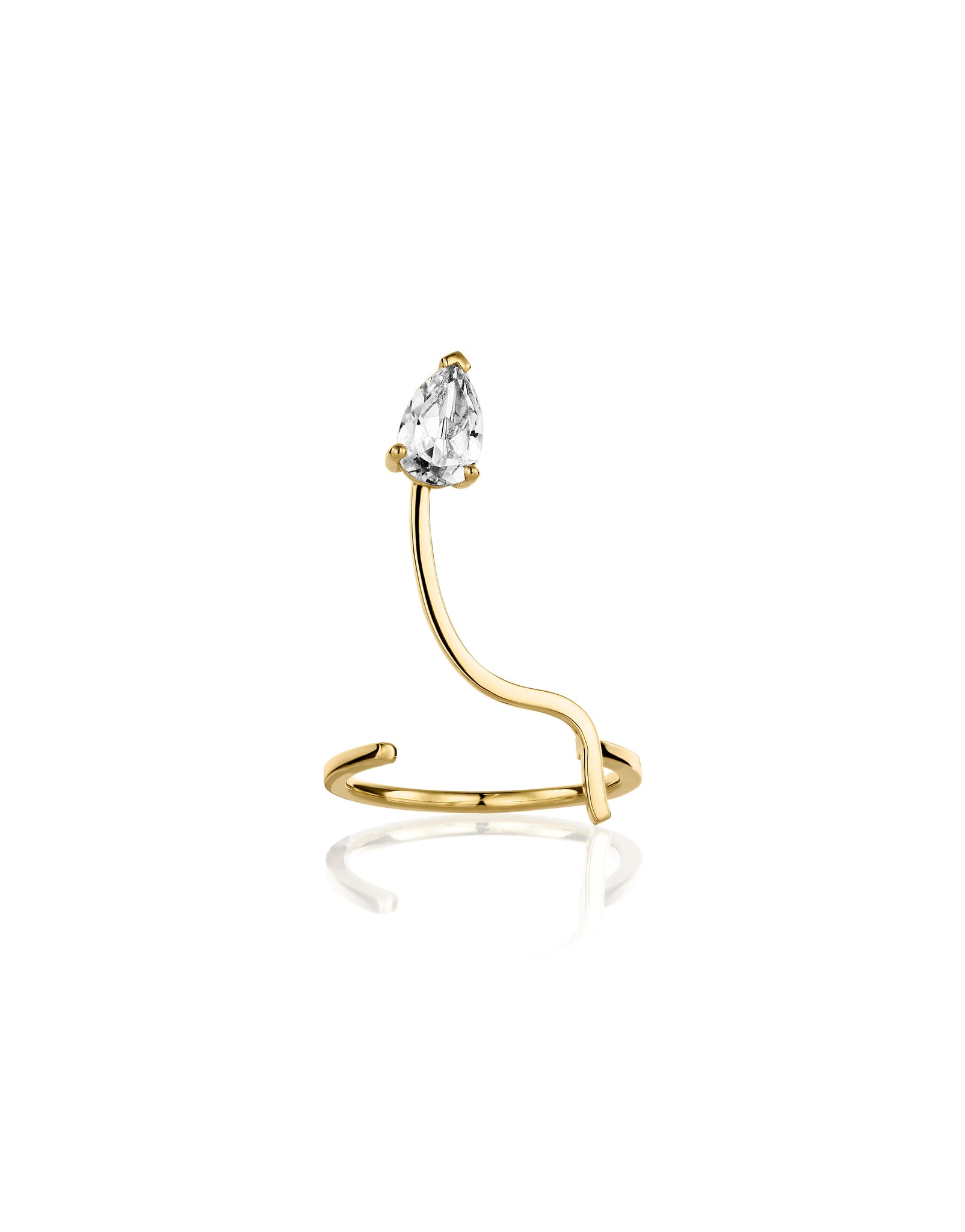 Ring 18K gold white topaz - Lina ring topaz  - Nayestones