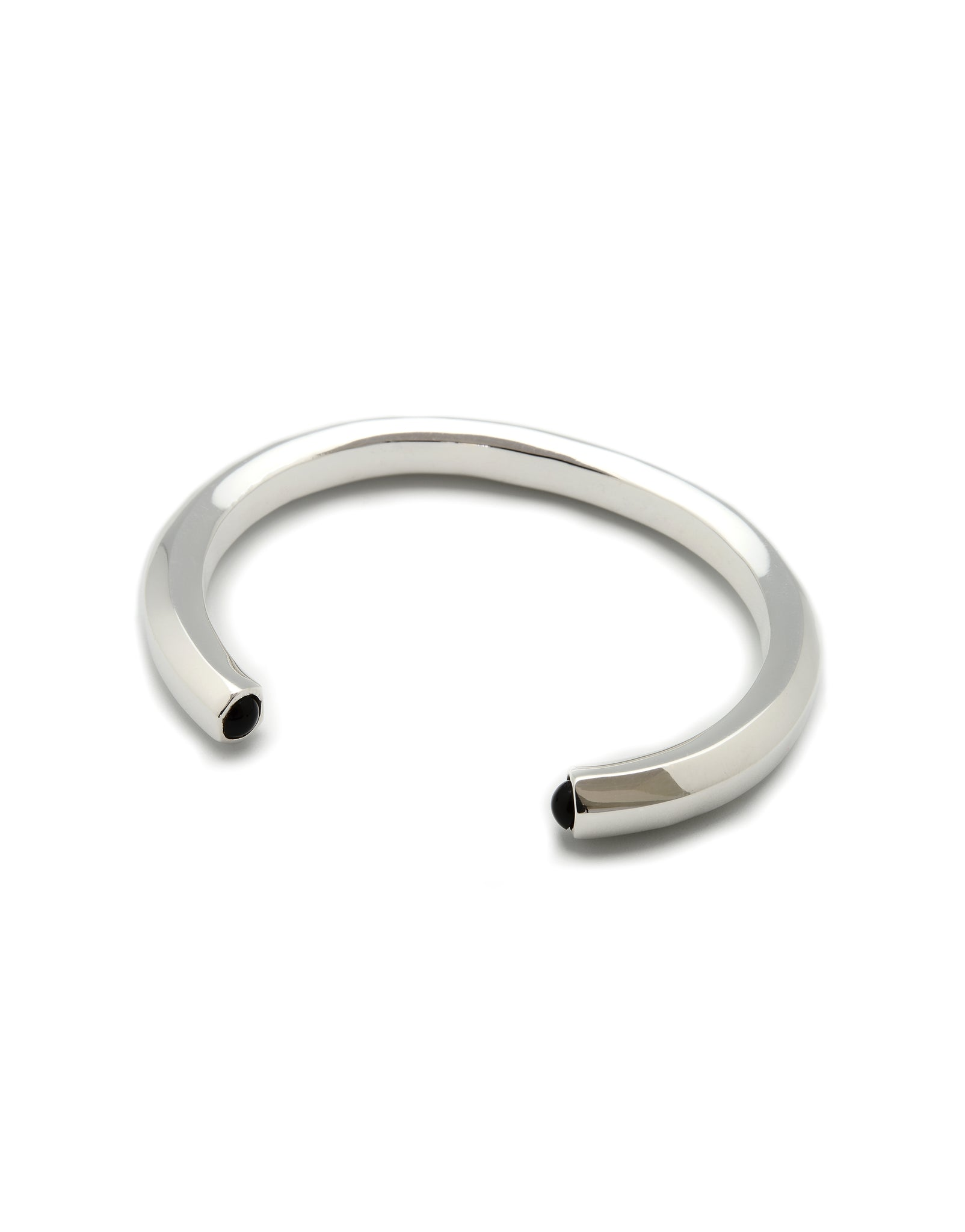 MECANIC CUFF FOR MEN ONYX AND SILVER-PLATED