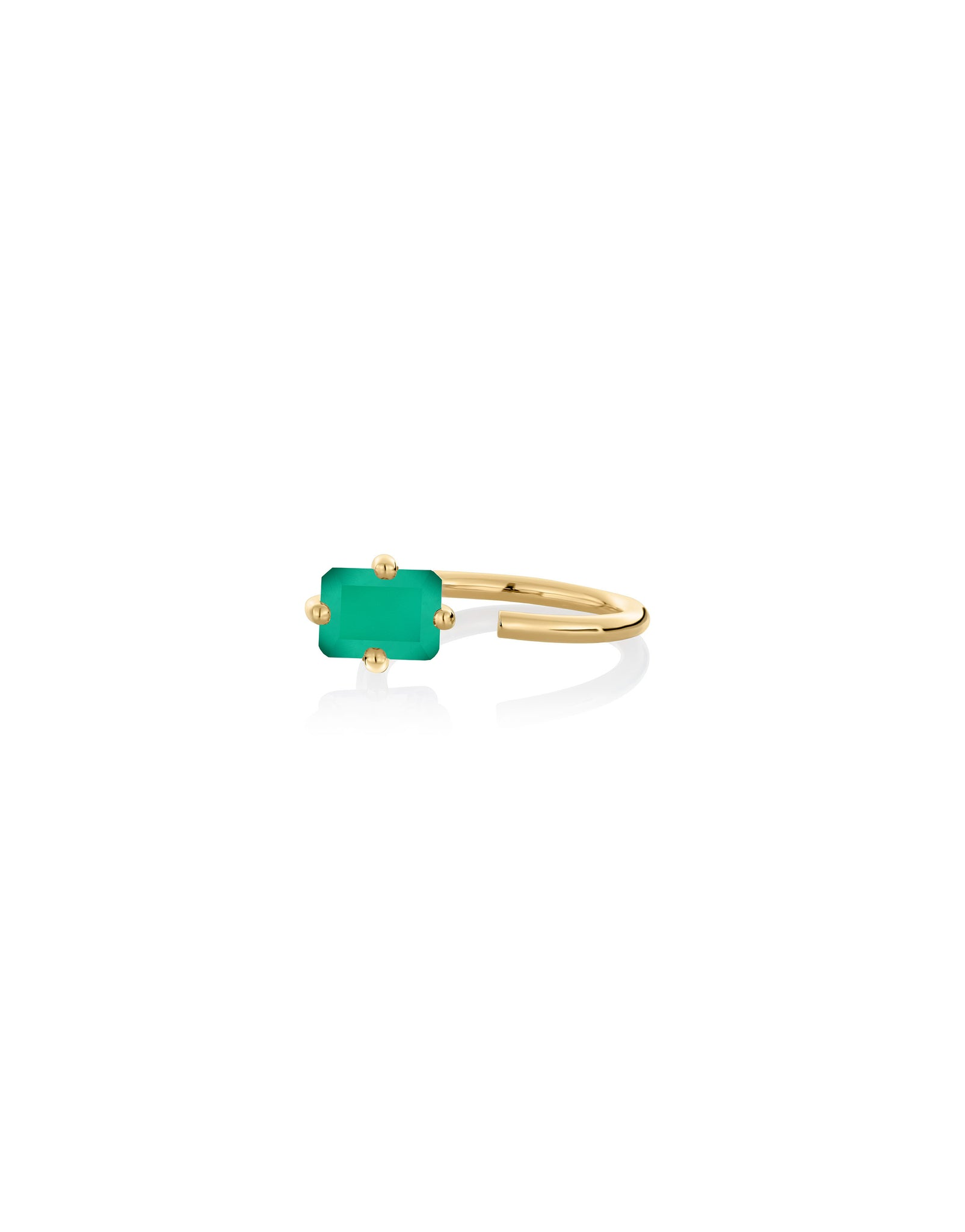 Ring 9K gold green onyx - Personalized octogone ring - Nayestones