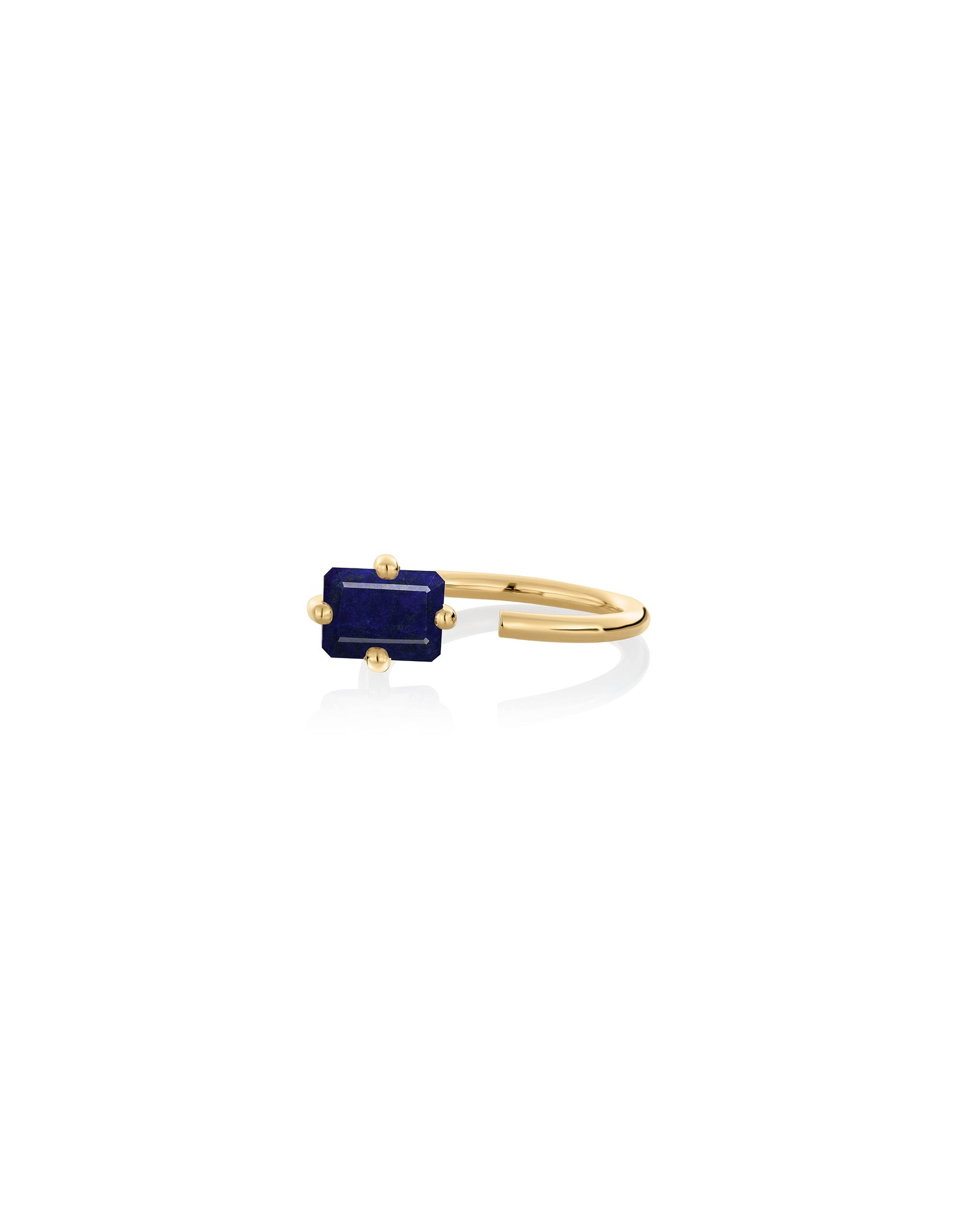 Ring 9K gold lapis lazuli - Personalized octogone ring - Nayestones