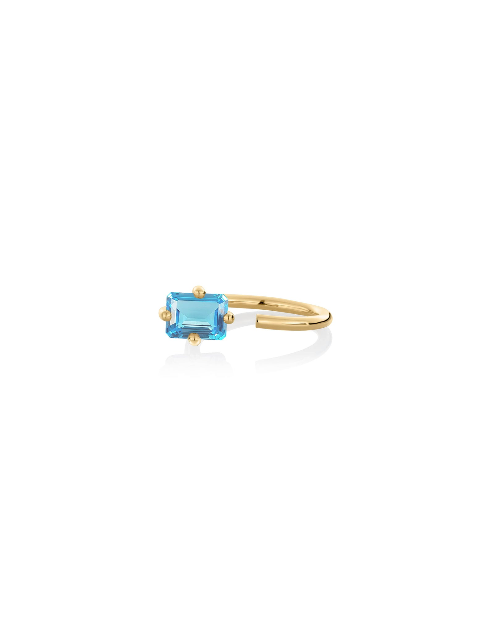 Ring 9K gold blue topaz - Personalized octogone ring - Nayestones