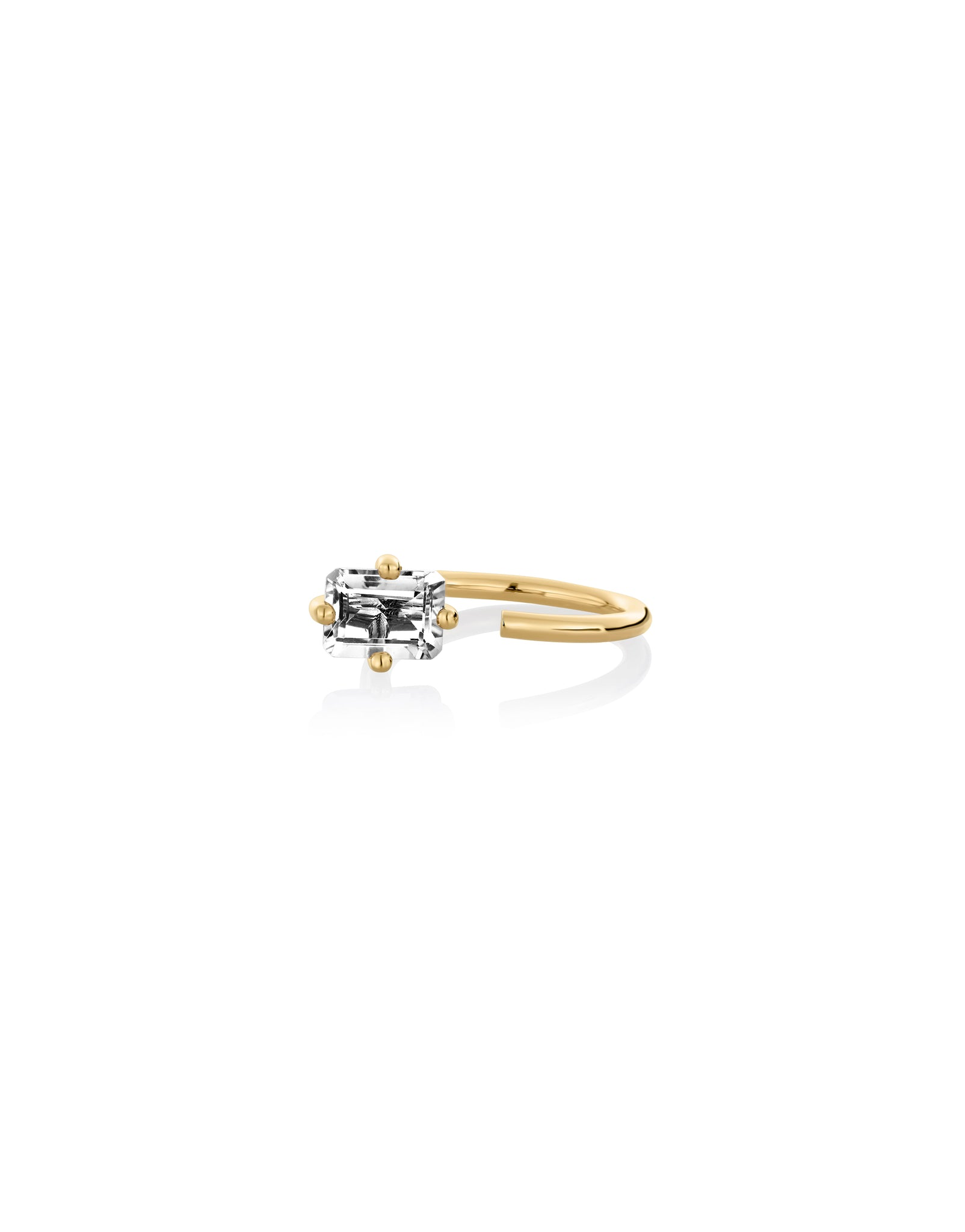 Ring 9K gold white topaz - Octogone ring white topaz - Nayestones