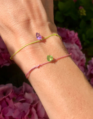 Bracelet with a personalized silk thread and stone - personalied silk bracelet - Nayestones