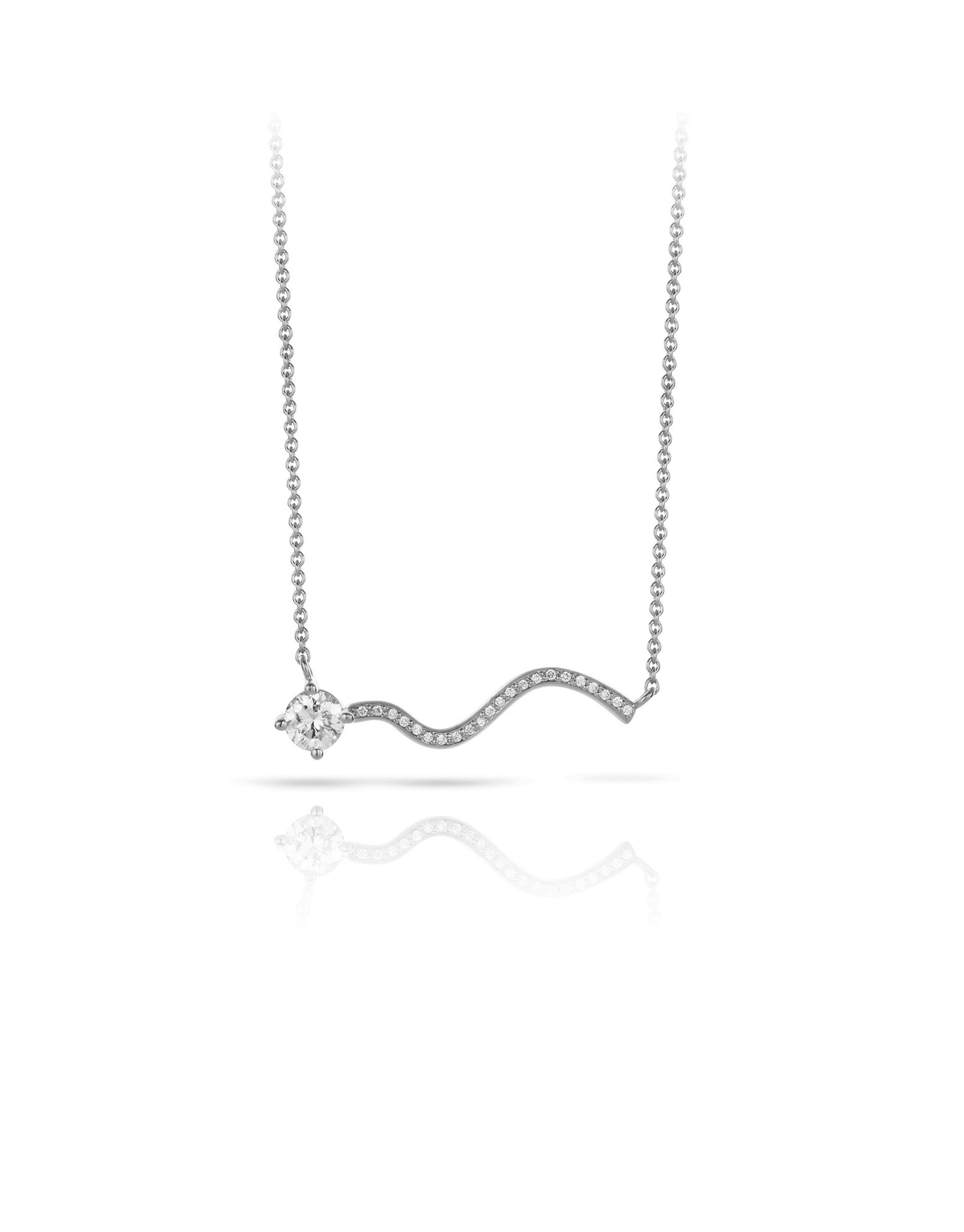 Necklace 18K gold with diamonds - Petite comete necklace diamonds - Nayestones